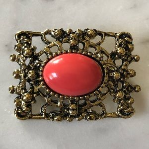 🔥 Vintage Coral Colored Art Glass Cabochon Brooch